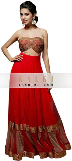Buy Online from the link below. We ship worldwide (Free Shipping over US$100) http://www.kalkifashion.com/red-floor-length-outfit-suit-adorn-in-zardosi-embroidery.html