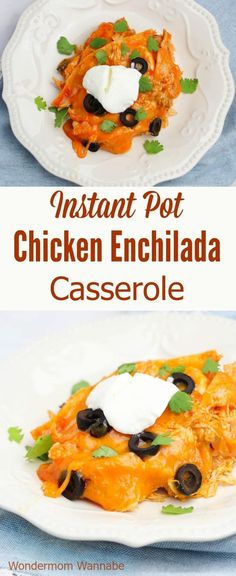 This Instant Pot Chicken Enchilada Casserole is one of the few dinners my whole family eats without complaining. I love that it's so easy and only calls for a few simple ingredients #instantpot #pressurecooker