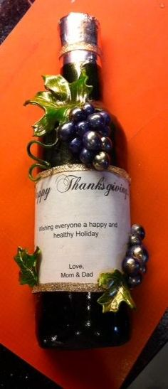 Thanksgiving Wine Bottle - Created by Fun Fiesta Cakes