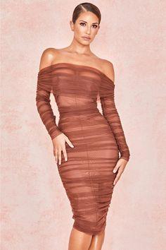 Ladies Womens Cold Cut Shoulder Wrap Over Asymmetric Strappy Midi Bodycon Dress