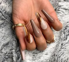 Brown Acrylic Nails, Brown Nails, Best Acrylic Nails, Cute Acrylic Nail Designs, Acrylic Art, Black Nails, Brown Nail Designs, Best Nails, Coffin Nail Designs
