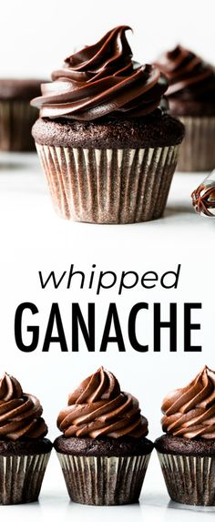 How to make whipped chocolate ganache from only 2 ingredients. You need heavy cr. - How to make whipped chocolate ganache from only 2 ingredients. You need heavy cream and chopped cho - Cupcake Recipes, Baking Recipes, Cupcake Cakes, Dessert Recipes, Whipped Chocolate Ganache, Chocolate Desserts, Chocolate Ganache Cupcakes, Baking Chocolate, Best Chocolate Frosting Recipe