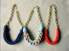 Manualidades DIY - Collar de nudos tejido con trapillo - YouTube