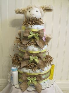 Neutral Lamb diaper cake by LLDiaperCakes on Etsy, $55.00