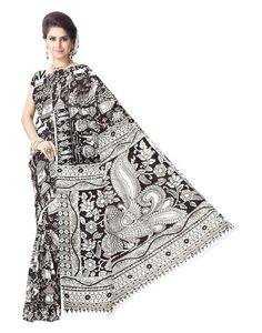 Kalamkari Saree in Cotton Silk -White&Black 2:GiftPiper.com