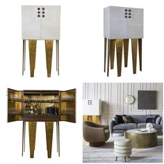 Bold #brass Griffith Bar Cabinet from Kelly Wearstler's #modern #furniture collection for EJ Victor