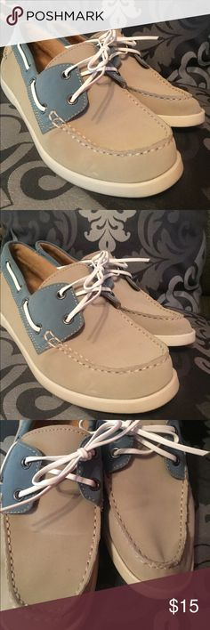 Ladies Boat Shoes Merona ladies boat shoes. Worn once. In excellent condition. Blue and tan with white laces. Size 8 Merona Shoes Flats & Loafers