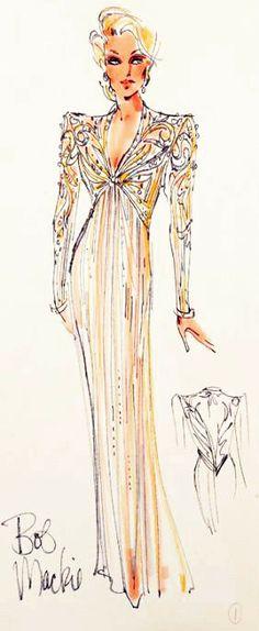 Bob Mackie gown sketch for Mitzi Gaynor