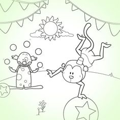 Have a Ball at the Circus Coloring Page  cute idea to make it into a bean bag toss and the balls are the holes