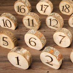 "Natural Wood Burnt Slice Table NumbersApproximately 4"" Diameter20 per Pack"