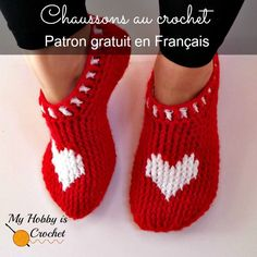 My Hobby Is Crochet: Chaussons rouge au crochet - Patron Gratuit en Français | The Heart & Sole Slippers - Now translated into French!