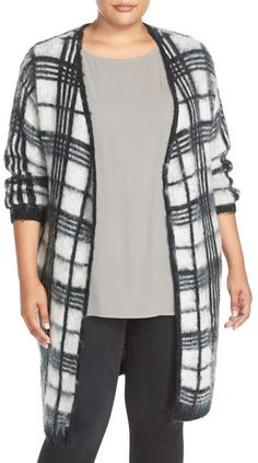 JUNAROSE 'Celena' Long Open Front Plaid Cardigan (Plus Size) Plus Size Tops, Plaid Scarf, Blouses For Women, Trending Outfits, Kimono Top, Cute Outfits, Sweaters, How To Wear, Shopping