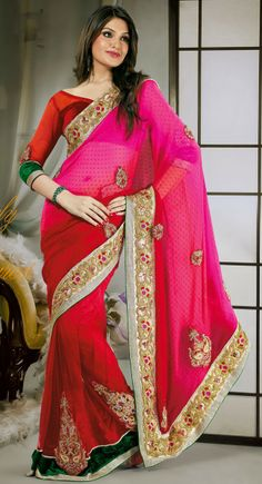 Ethnic Pink & Red Embroidered Saree