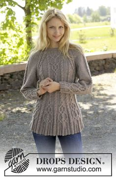 "Knitted DROPS jumper with cables and raglan, worked top down in ""Karisma"". Size S-XXL ~ DROPS Design"