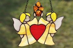 Stained glass angels suncatcher with natural Baltic amber. For grandma. Valentines day gift. Anniversary gift. Wedding gift. Engagement gift