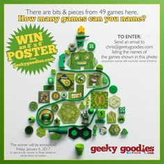 """#HolidayContestAlert Win an 8"""" x 8"""" POSTER of your choice from GeekyGoodies.com.  TO ENTER: Send an email to chris@geekygoodies.com listing the names of the games shown in this photo (expansion names will count for some of them). Posting answers in the comments will disqualify you from winning).  The winner (and the names of the games) will be announced Friday, January 6, 2017. In case of a tie: The winner, or those closest to, will be drawn at random. #ContestAlert #win #GeekyGoodies"""
