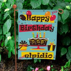 Personalized Birthday Garden Flag | Happy Birthday Flag with Custom Name