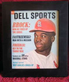 LOU BROCK ST. LOUIS CARDINALS  FRAMED 1968 DELL MAGAZINE COVER ON CANVAS  #StLouisCardinals