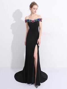 Chic Mermaid Prom Dress Black Off Shoulder Flower Long Prom Dress Party Dress AM960
