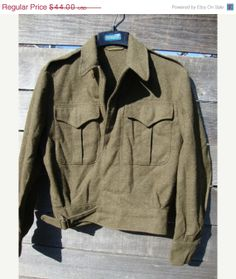 Spring sale Vintage Military WWII Ike wool cropped battle dress jacket mint small