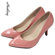 New Women Pumps Stiletto High Heels Pointed Toe Party Work Shoes Patent  Leather