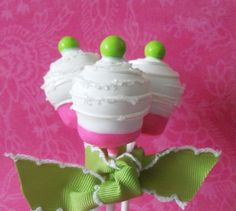 Hot pink and lime cupcake cake pop