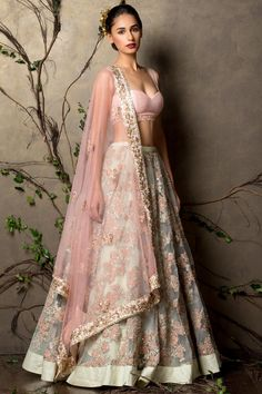 Bridal Lehenga - Gorgeous pastel lehenga by Shyamlal & Bhumika Mode Bollywood, Bollywood Fashion, Indian Attire, Indian Ethnic Wear, Indian Wedding Outfits, Indian Outfits, Desi Clothes, Indian Clothes, Indian Couture