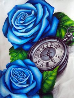 3D Blue Rose With Pocket Watch Tattoo Design By Lindsay More