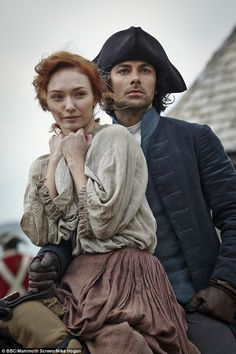 Relationship woes: In the show, Poldark returns from fighting in the United States to find out that his love, Elizabeth, is going to marry his cousin - pictured with actress Eleanor Tomlinson who plays Demelza