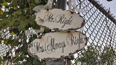 MR. RIGHT & MRS. Always Right Signs, Vintage Wedding Signs, Reception Decor, Shabby Chic Wedding Signs, Humorous Wedding Sign, Romantic