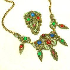 Gem Colored Stones & Enameling from New England Glassworks, Vintage Fringed Bib Necklace & Dress Clip Signed Set
