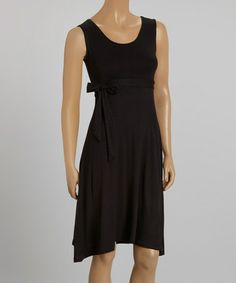 Another great find on #zulily! Black Tie-Waist Sleeveless Dress #zulilyfinds