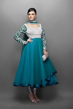 Peacock Blue Voluminous Net Anarkali Suit with a silver Crystal & Pearls Encrusted Yoke