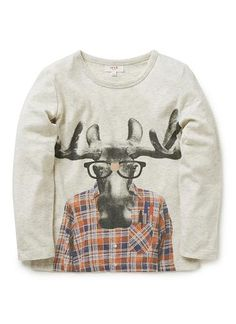 100% cotton jersey long sleeve tee with front hipster moose print