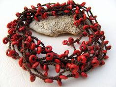 Brown red crocheted necklace wrap cuff