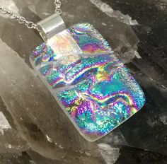 """Contemporary pendant handmade  kiln fused dichroic glass 3.5cm x 2cm / 1.4"""" X 0.8"""" with 18"""" chain gift boxed unique psychedelic necklace by hotglassfusions on Etsy"""