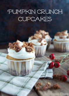 Pumpkin Crunch Cupcakes with a crunch on the bottom and atop the sweet cream cheese frosting you'll want to make these a new tradition!