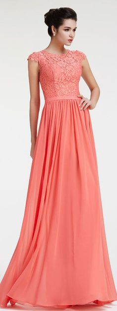 Modest Lace Coral Bridesmaid Dresses with Sleeves | Chiffon ...