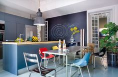 I've been considering multi colored dining chairs! Madrid Apartment-07-1 Kind Design