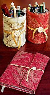 Capinha de Tecido para lata e capa pra caderno