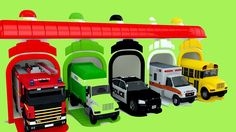 Car Toy Vehicles Police Car School Bus Fire Truck Garage Parking Learn C...