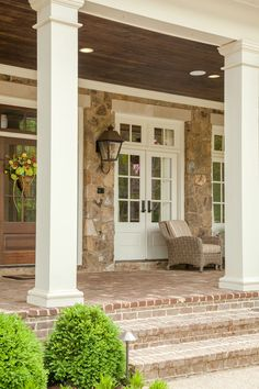 """Mix of stone and brick along with stained and painted white wood. """" David Clark Construction, LLC, Germantown, TN. Troy Glasgow photo. """""""