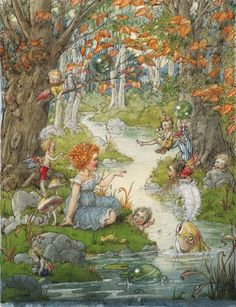 """≍ Nature's Fairy Nymphs ≍ magical elves, sprites, pixies and winged woodland faeries - """"The Enchanted Stream"""" by Harold Gaze Magical Creatures, Fantasy Creatures, Cicely Mary Barker, Vintage Fairies, Love Fairy, Fairytale Art, Flower Fairies, Fairy Art, Faeries"""
