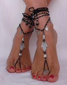 Black and Silver HAMSA BAREFOOT SANDALS foot jewelry hippie sandals toe ring anklet crochet barefoot tribal sandals yoga hand of fatima - Diy Schmuck Ideen Ankle Jewelry, Ankle Bracelets, Body Jewelry, Feet Jewelry, Hamsa Jewelry, Hand Of Fatima, Diy Schmuck, Bijoux Diy, Bare Foot Sandals