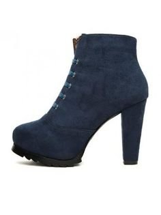 Chic Chunky Heel Closed Toe Blue Ankle Boots