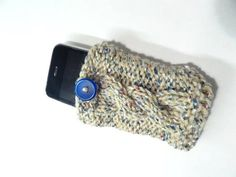 Hand Knitted Phone Cover     CIJ by toppytoppy on Etsy, $10.00