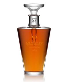 """The $15,000 Scotch:""""The Macallan Single Malt is launching the third decanter in a series of six within The Macallan in Lalique Six Pillars Collection. The limited-edition, hand-crafted bottle contains an exceptionally rare 57 years old single malt Scotch whisky – the second oldest whisky ever to be released by The Macallan."""