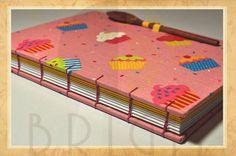 """Handmade book / bookbinding - Cookbook """"Cupcake"""" - Handbound book - Handbound Journal"""