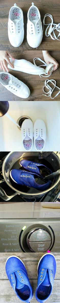 78dea53042 How to DIY Dye Canvas Shoes with Rit Dye from MomAdvice.com Plain White  Shoes