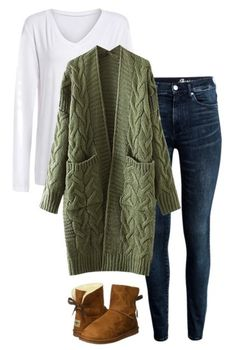 Casual Weekend Outfits That are Still Stylish Casual Weekend Outfit - White t-shirt, cozy olive cardigan, jeans and soft boots.Casual Weekend Outfit - White t-shirt, cozy olive cardigan, jeans and soft boots. Komplette Outfits, Cardigan Outfits, Fall Outfits, Green Cardigan Outfit, Oversized Cardigan Outfit, Stylish Outfits, Long Cardigan, Sweater Cardigan, Casual Weekend Outfit